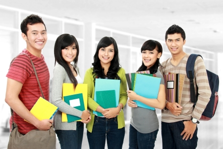student book: Group portrait of asian students in campus