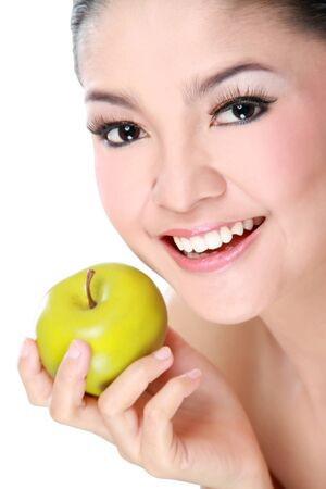 Picture of gorgeous woman with apple isolated on white background photo