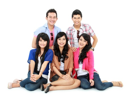 Group of Teenager Friends sitting together and look at camera Stock Photo - 16827325