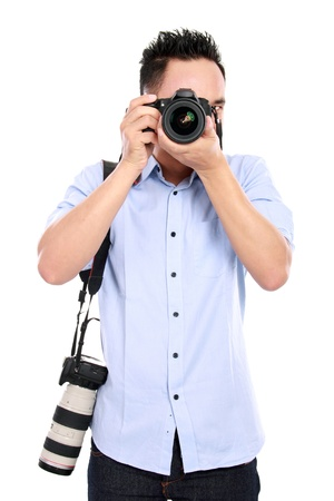 portrait of asian professional photographer ready to take some photo Stock Photo - 16800569