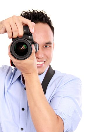 portrait of man using camera ready to take photo Stock Photo - 16800576
