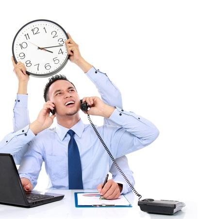 potrait d'homme d'affaires occupé avec beaucoup de mains, concept multitâche