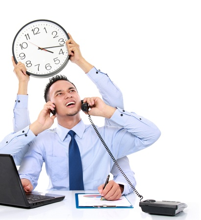 tasks: potrait of busy business man with many hands, multitasking concept