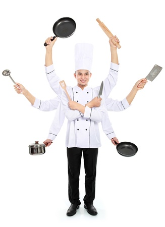 chef knife: Busy chef concept with many hand isolated on white background