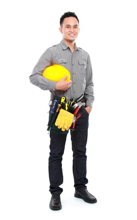 portrait of smiling worker with full equipment ready to work Stock Photo - 16958612