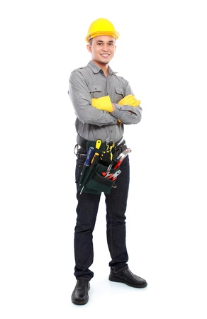 portrait of smiling worker with full equipment ready to work photo