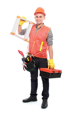 industrial worker bring ladder and equipment ready to work photo