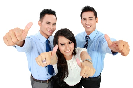 Portrait of a woman and man office worker showing thumb up photo