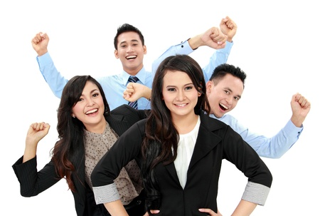 Excited group of business people isolated over white background photo