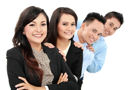 asian business team: Portrait of happy business people smiling isolated on white background
