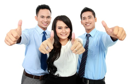 Portrait of a woman and man office worker showing thumb up Stock Photo - 17064734