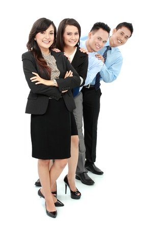 Portrait of happy business people smiling isolated on white background Stock Photo - 17064710