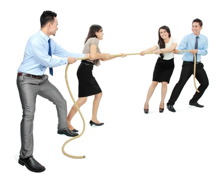pulling rope: Business competition teams struggling to win. pulling rope on white background