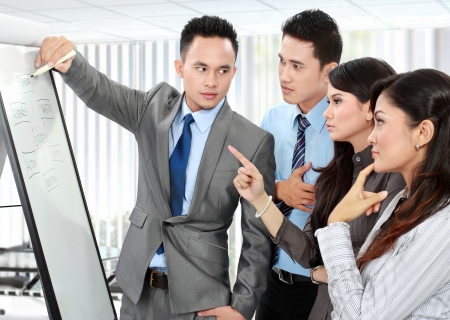 Group of business people discussing and looking at whiteboard in the office