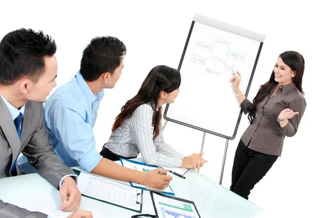 flipchart: businesswoman giving a presentation to business team