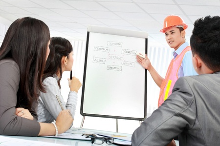 executive helmet: contractor giving presentation to the client in the office Stock Photo