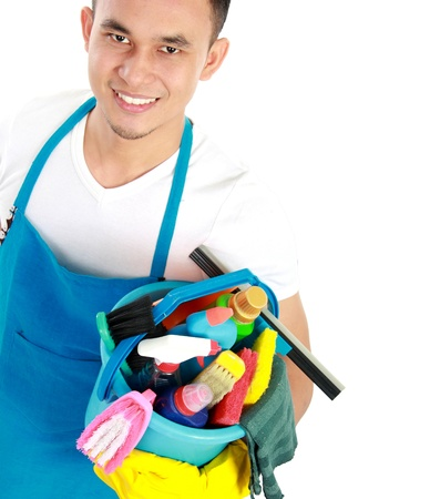 mopping: portrait of man with cleaning equipment isolated over white background Stock Photo