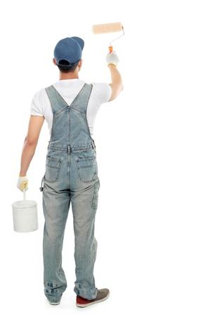 pintor: pintor pintar algunas paredes con pintura blanca