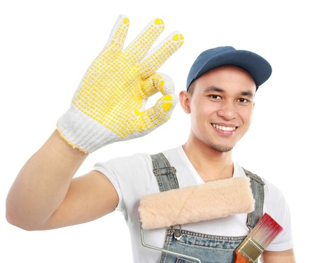 workmen: Painter showing ok sign isolated over white background