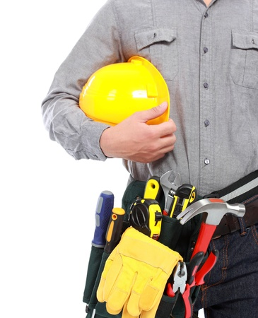 worker with full equipment ready to work photo