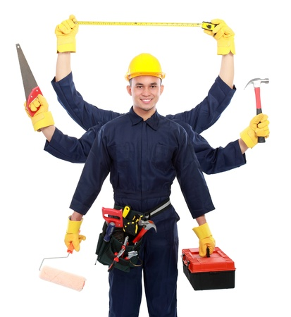 hard working people: portrait of worker use blue uniform with six arm hold equipment  multitasking concept