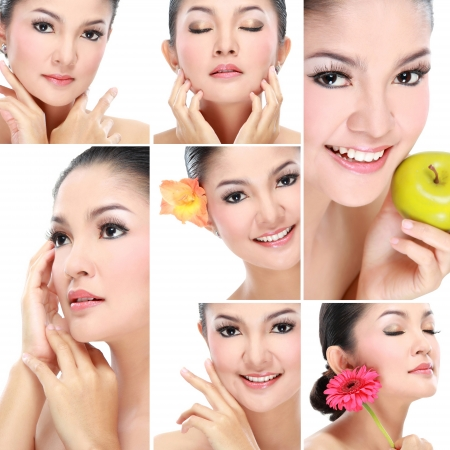 skincare: collage of Beautiful asian woman face with smile for skincare, beauty hygiene, moisturize Stock Photo