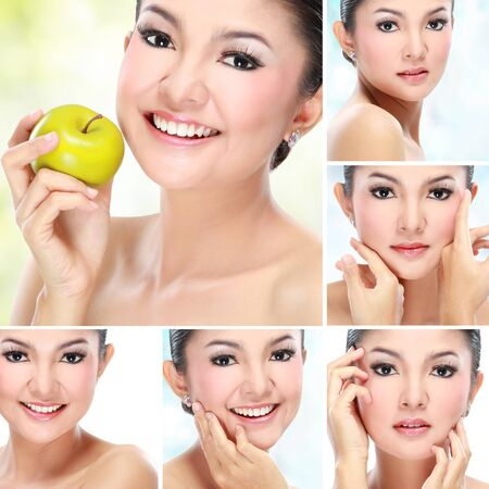 Beautiful asian woman face with smile for skincare, cosmetic, beauty hygiene, makeup, moisturize photo