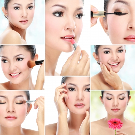 collage of a beautiful asian woman natural beauty photo