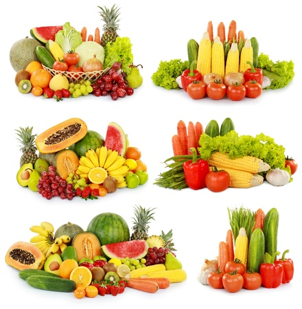 collection of delicious fresh fruits and vegetables isolated on white background photo