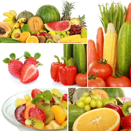 collage of fresh fruits and vegetables isolated on white background photo