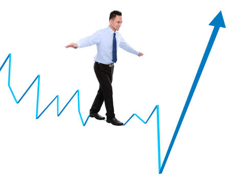 business man balancing on chart. business concept Stock Photo - 17682289