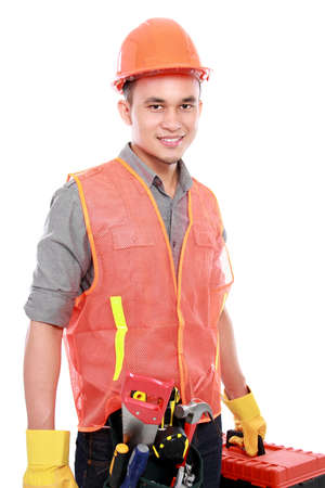 industrial worker bring equipment ready to work photo