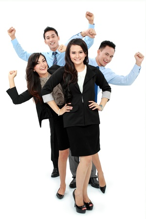 Excited group of business people celebrating success Stock Photo