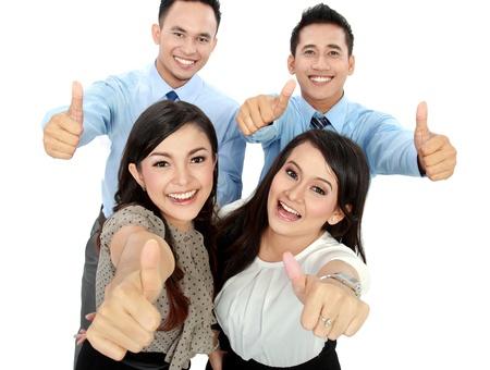 thumbs up group: Ritratto di una donna e ufficio lavoratore l'uomo mostra pollice in su
