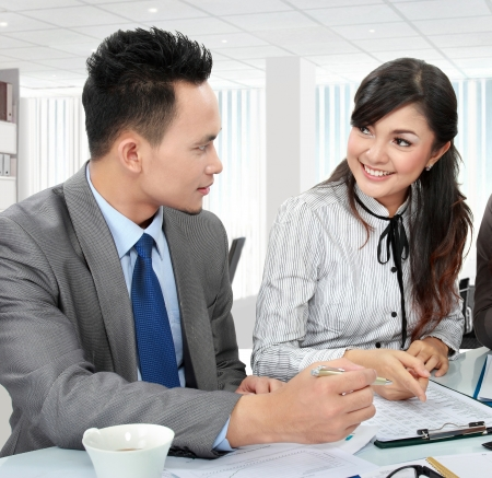 two business office worker discussing in the office