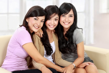 three women: Group of beautiful asian women smiling