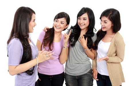 group of woman friend talking together and smile Stock Photo