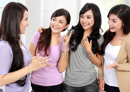 chat room: group of woman friend talking together and smile Stock Photo