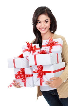 portrait of smiling young girl bring some gift Stock Photo - 17889384