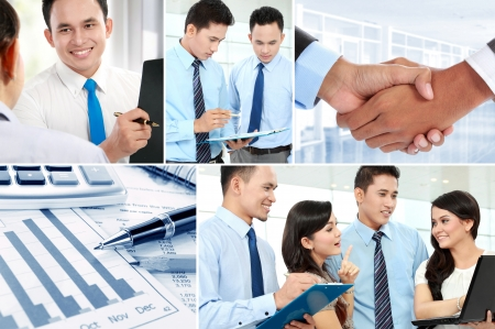 Business collage of teamwork and asian business people photo