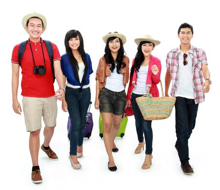 group of Happy teenager tourist walking together and happy photo