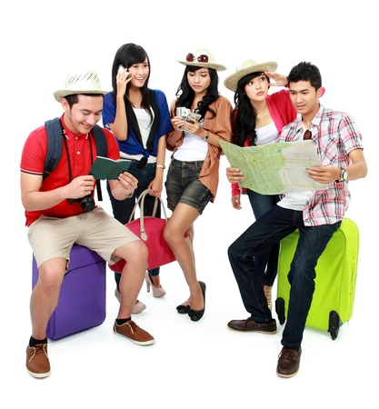 preoccupied: group of young tourist preoccupied itself Stock Photo