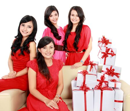 group portrait of young woman with many gift boxes Stock Photo - 18121471