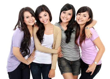 Portrait Group of happy teenagers having fun Stock Photo - 18121786