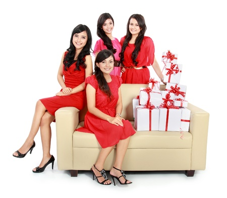 group of Beautiful young woman dress in red with many gift boxes Stock Photo - 18121100