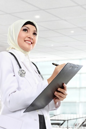 portrait of muslim asian female Medical doctor photo