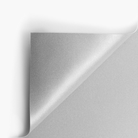 turn over: Curled silver page corner ready for your design Stock Photo