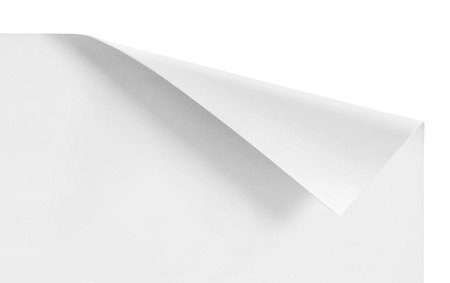 curled corners of white sheet paper isolated photo