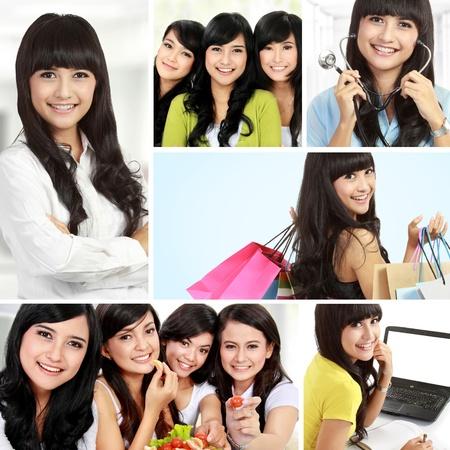 indonesian woman: collage de mujer asi�tica hermosa juntos haciendo actividades Foto de archivo
