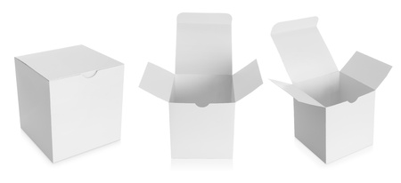 storage box: white Package Box isolated over white background Stock Photo